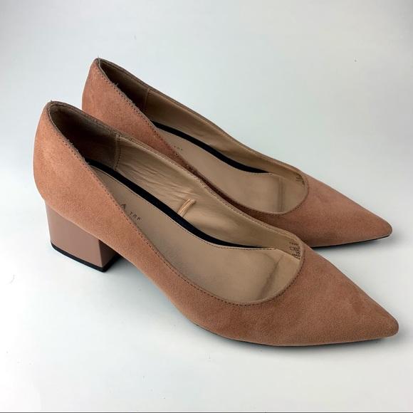 cd435a4449 Zara Shoes | Pointed Toe Nude Suede Block Heels | Poshmark